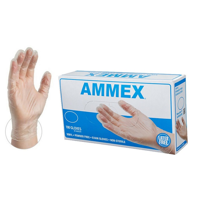 AMMEX Vinyl PF Exam Gloves Box of 100 Disinfection Protection