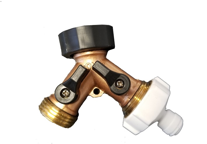 Y3414BR, Garden Hose Y Adapter Shutoff Valve Brass Construction